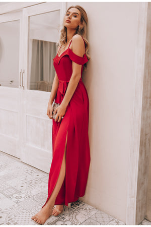 Off shoulder special red jumpsuit