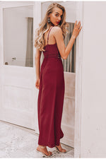 Strap lace hollow jumpsuit