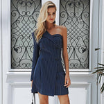 One shoulder striped suit sexy dress A-line