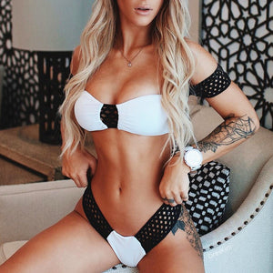 Black and white off shoulder bikini