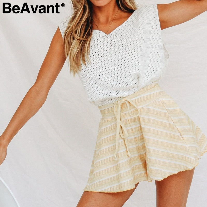 Knitted striped high waist shorts