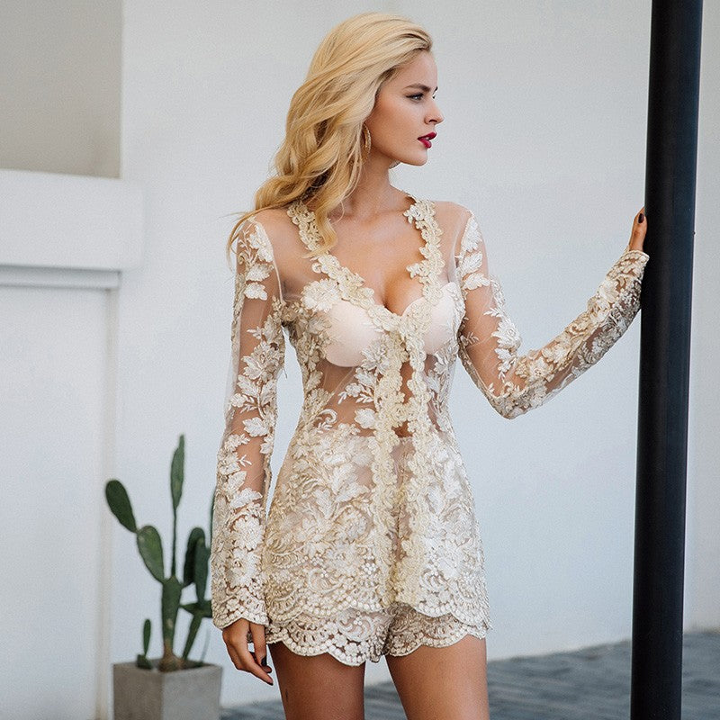 Sequin lace playsuit