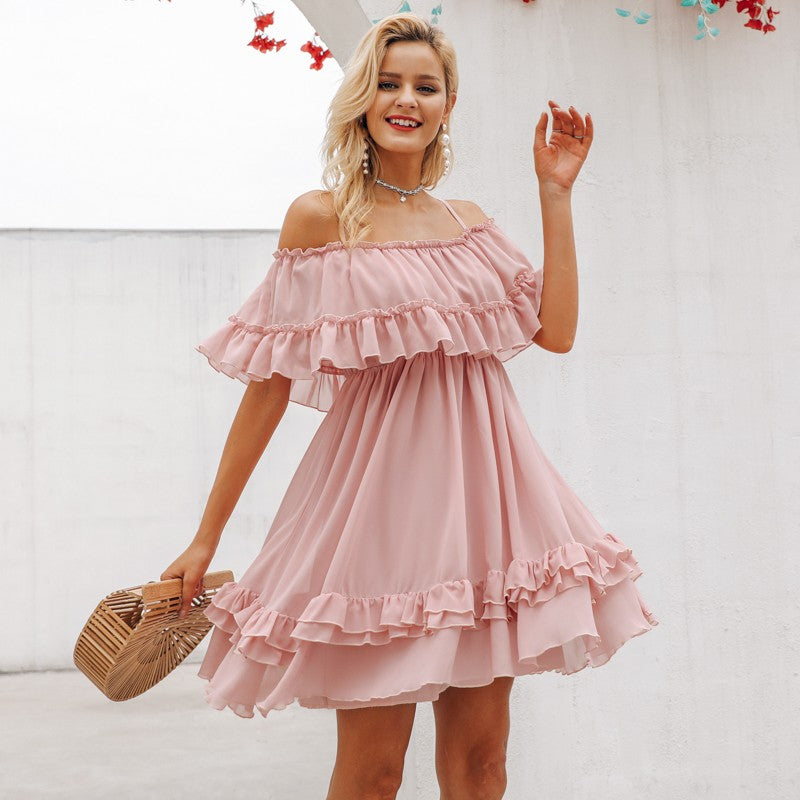 Elegant ruffle off shoulder dress