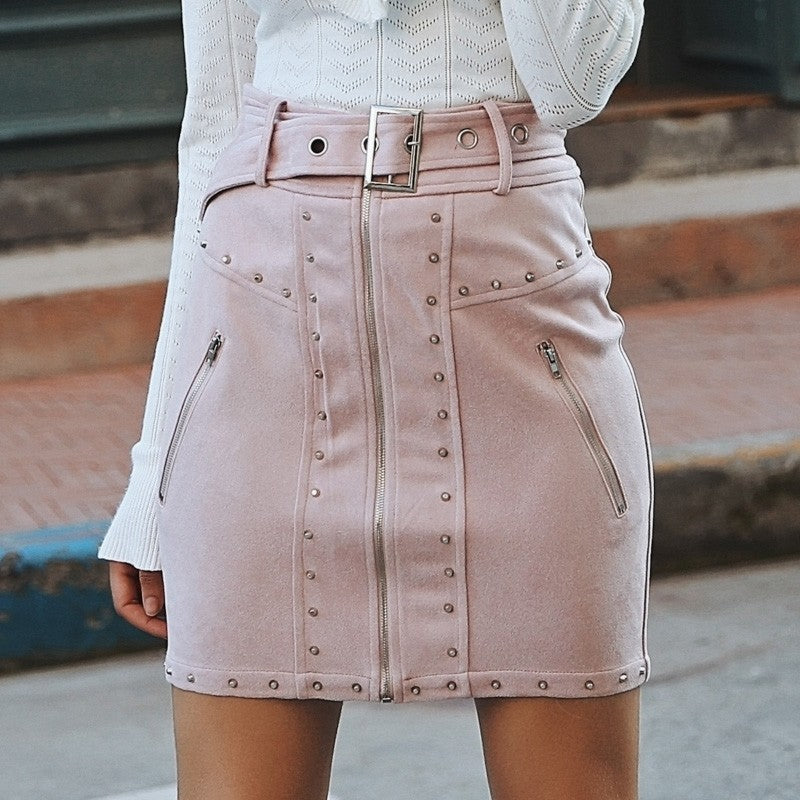Suede front zipper mini skirt