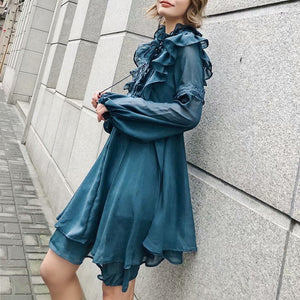 Sexy ruffle teal women dress