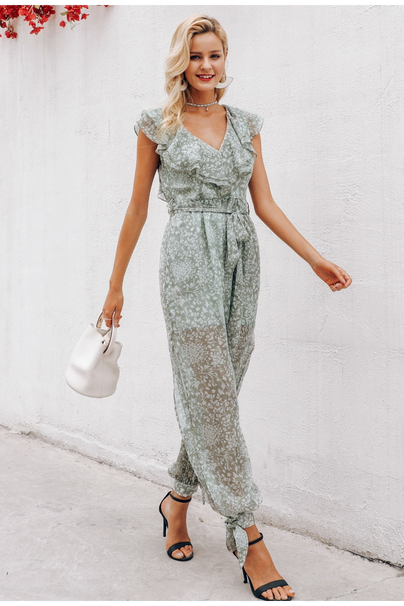 Ruffle v-neck jumpsuit