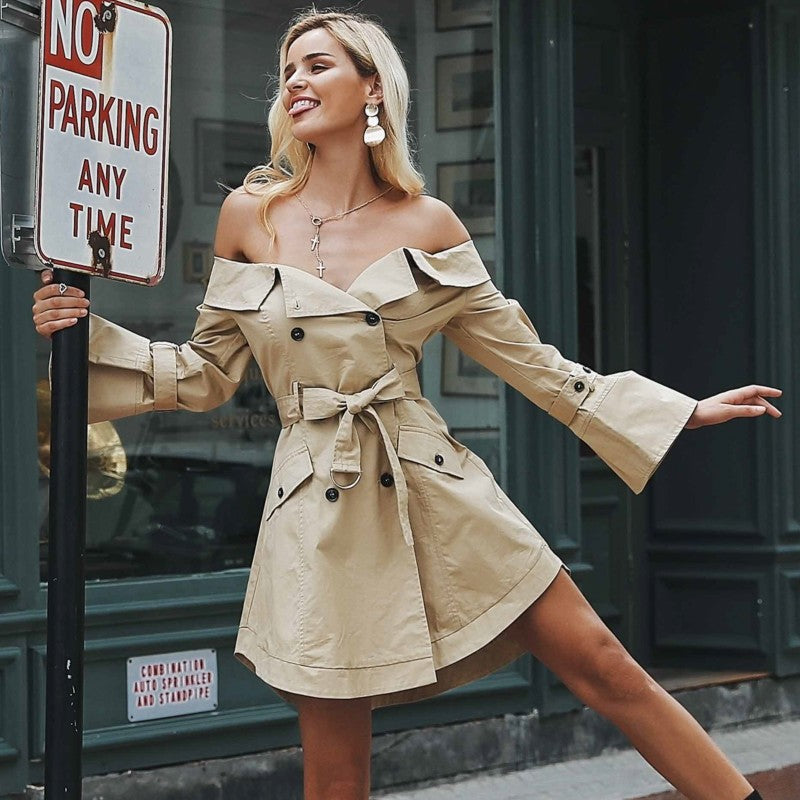 Off shoulder trench dress