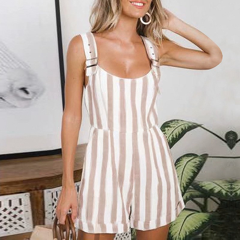 Casual striped women playsuits