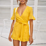 Deep v-neck playsuit