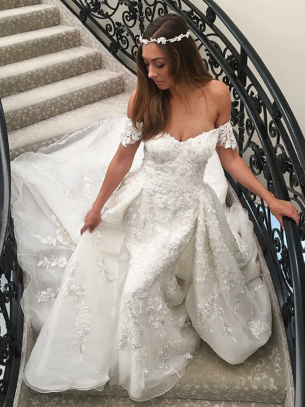 Floor-Length Lace Off-The-Shoulder Short Sleeves Hall Wedding Dress