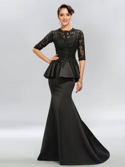 Sexy Trumpet Jewel Applique Half Sleeves Satin Evening Dress