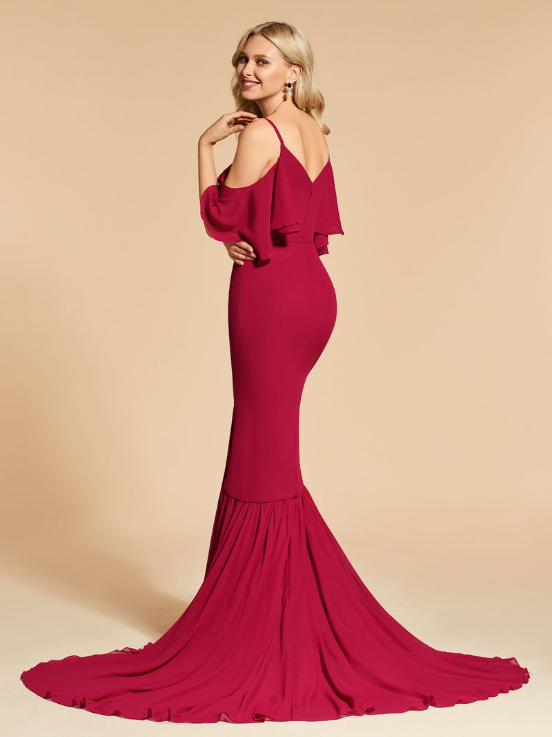 Sweep/Brush Spaghetti Straps Trumpet/Mermaid 3/4 Length Sleeves Evening Dress