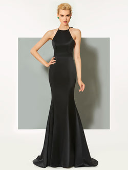 Simple Black Satin Floor-Length Sheath/Column Scoop Bowknot Evening Dress