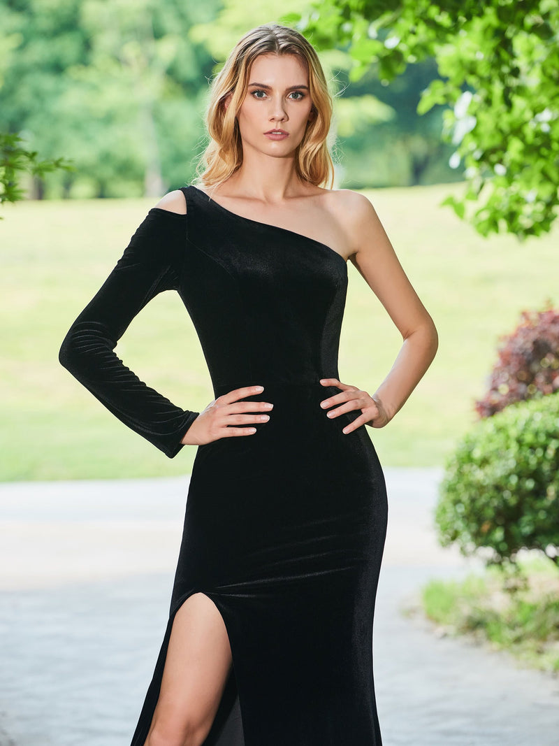 Floor-Length One Shoulder Sheath/Column Long Sleeves Evening Dress