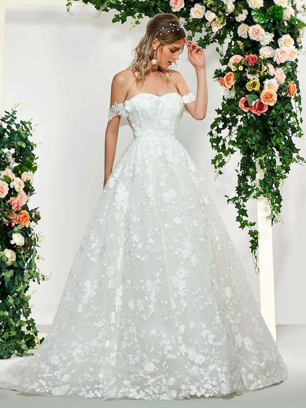Lace Ball Gown Floor-Length Off-The-Shoulder Church Wedding Dress