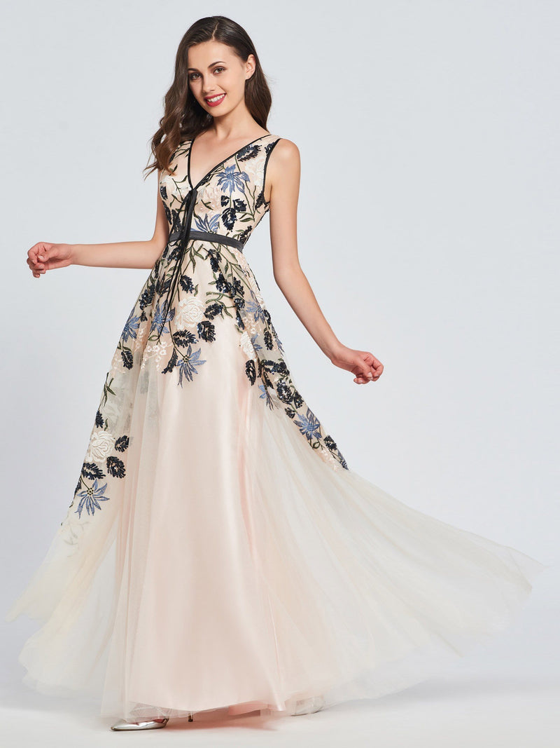 A-Line V-Neck Appliques Embroidery Prom Dress