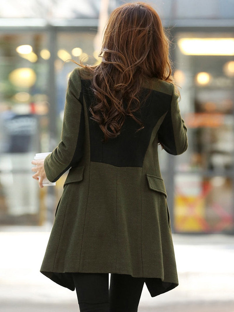 Amy Green Color Block Patchwork Slim Women's Overcoat