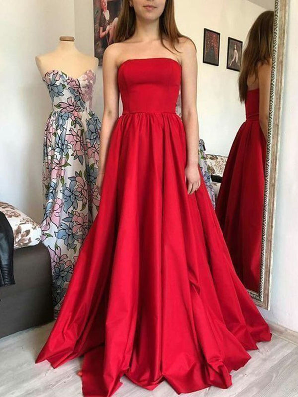 Simple A-Line Strapless Long Red Satin Prom Dress