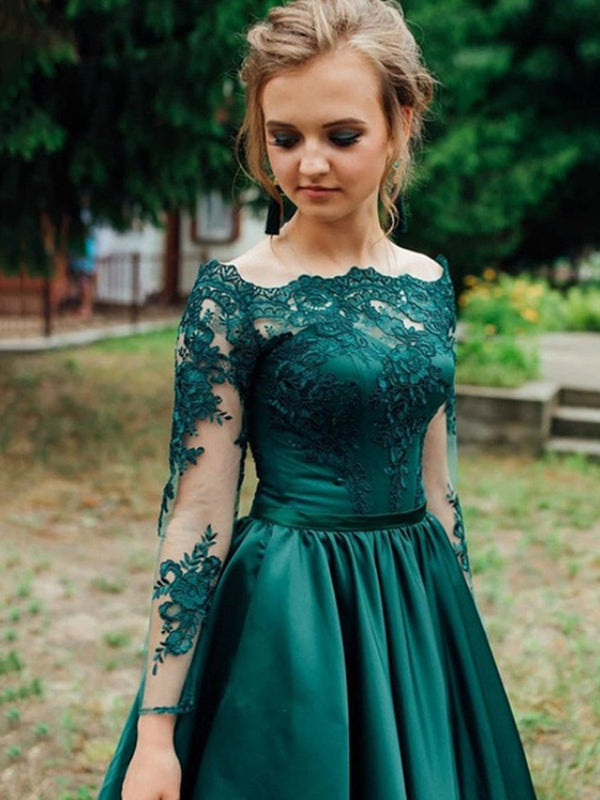 Off-The-Shoulder A-Line Long Sleeves Appliques Prom Dress