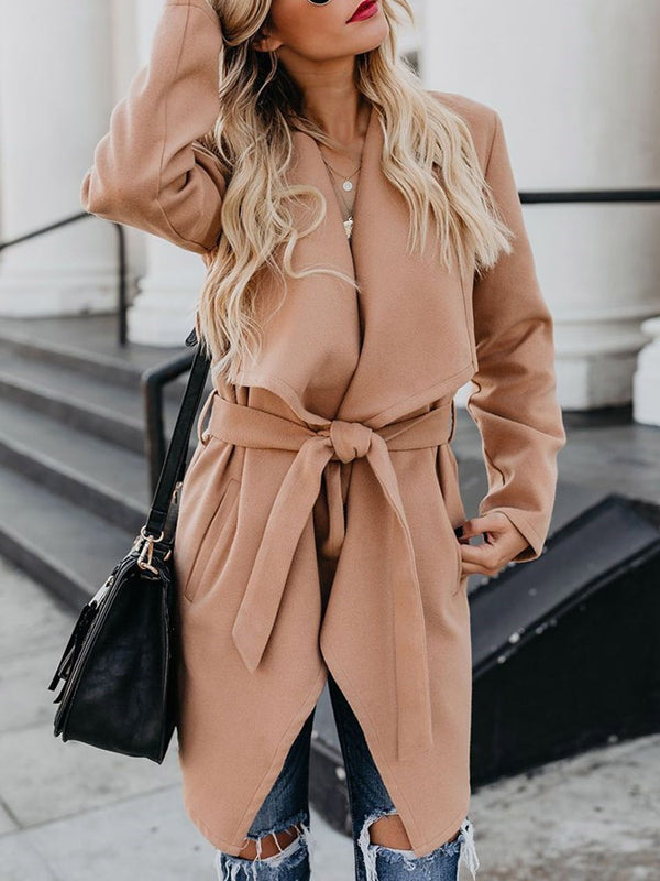 Loose Belt Lace-Up Fall Lapel Overcoat