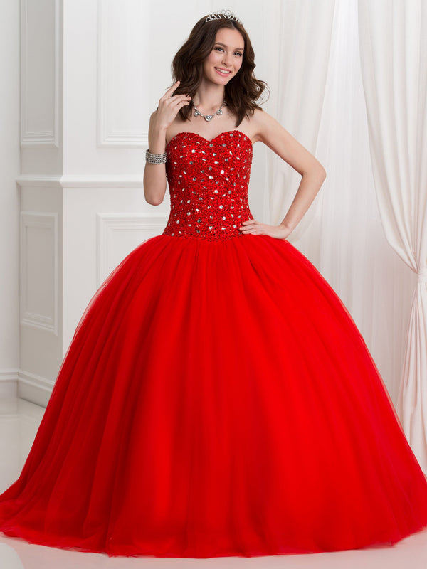 Sweetheart Ball Gown Sleeveless Crystal Quinceanera Dress