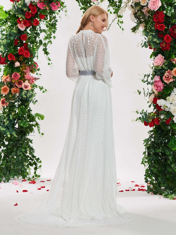Long Sleeves Floor-Length High Neck Lace Hall Wedding Dress