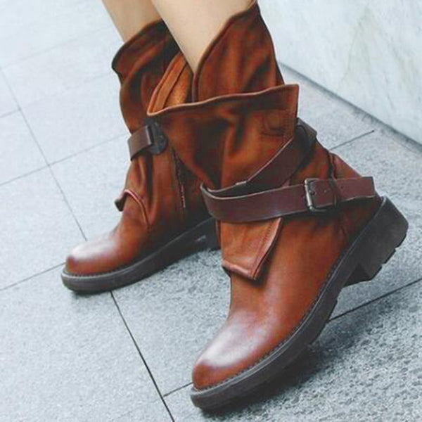 Block Heel Side Zipper Round Toe Patchwork Casual Buckle Boots