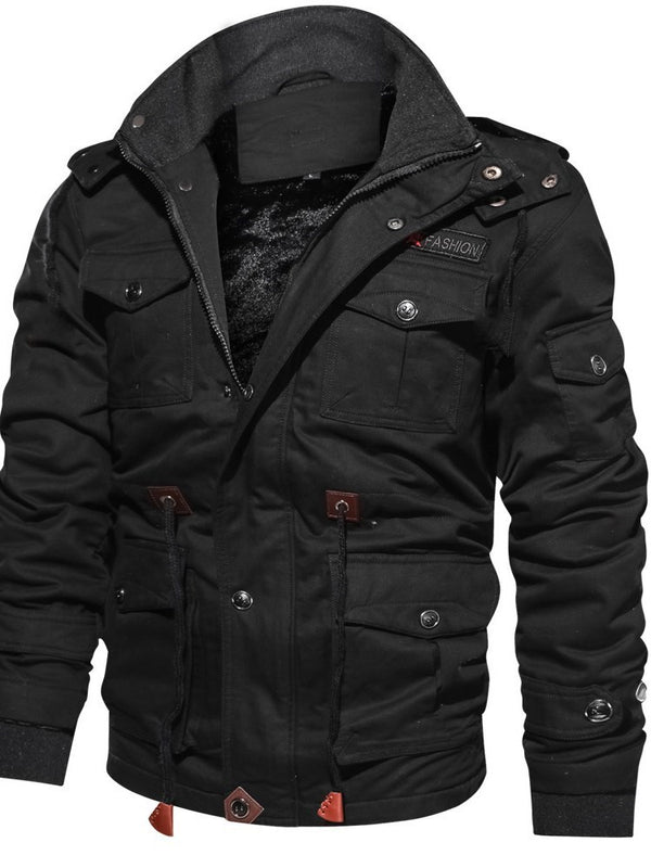 Hooded Zipper Long Sleeve Loose Men's Winter Jacket