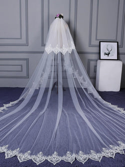 "Lace Edge Two-Layer Royal(≥144"") Appliques Wedding Veil"