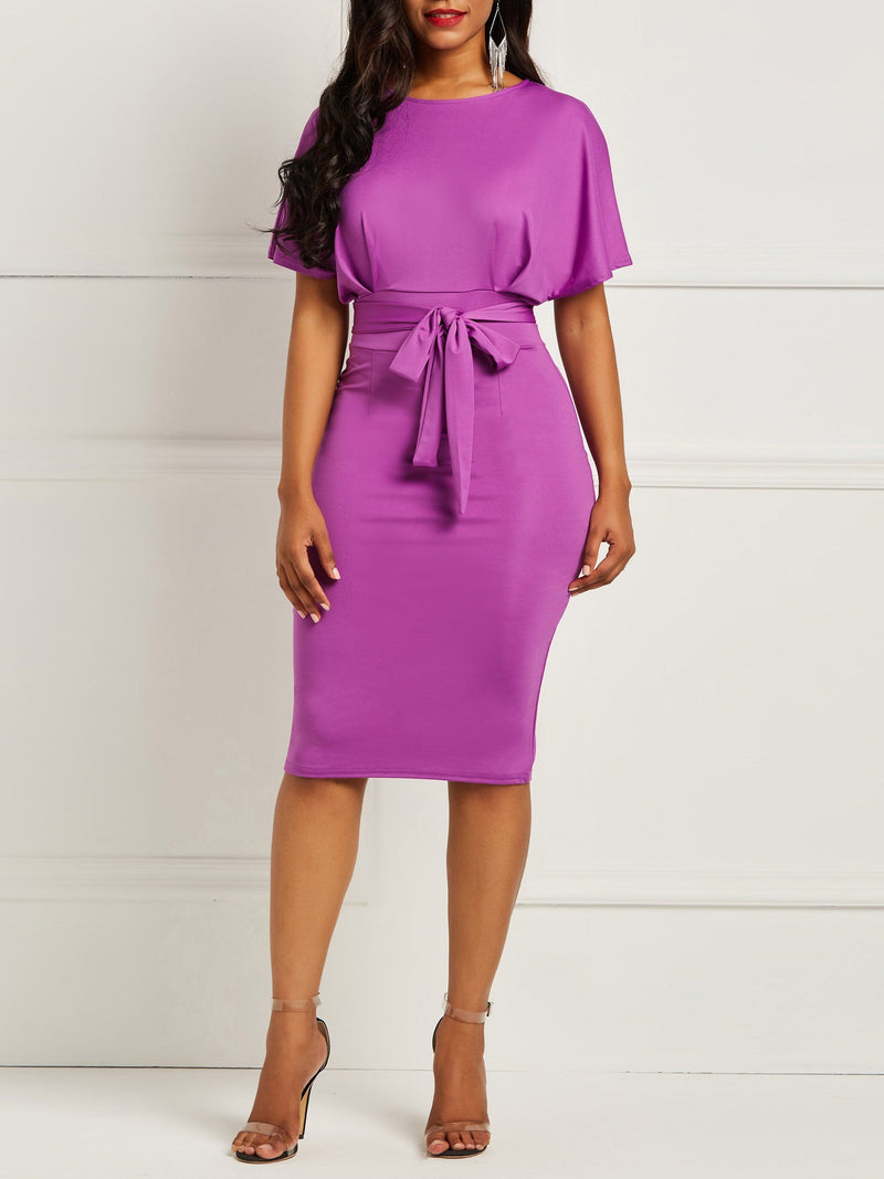 Round Neck Solid Color Self-tie Waist Bodycon Dress