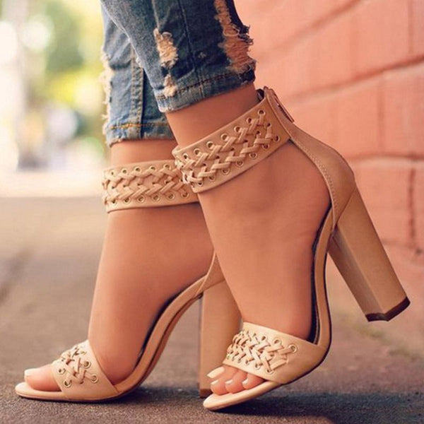 Zipper Chunky Heel Heel Covering Open Toe Plain Woven Sandals