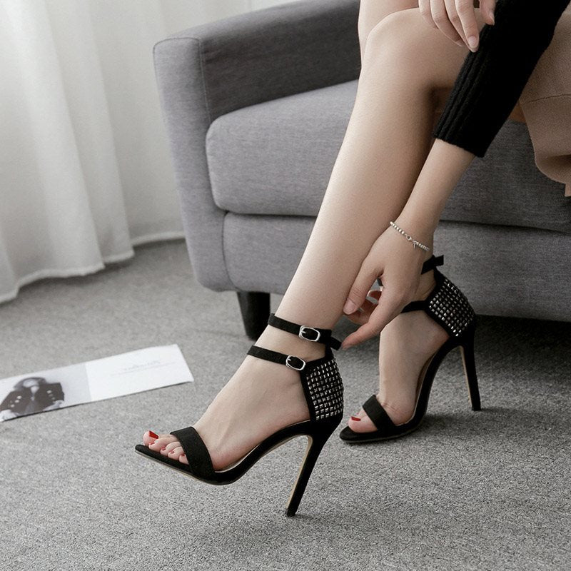 Stiletto Heel Line-Style Buckle Heel Covering Open Toe Casual Plain Sandals