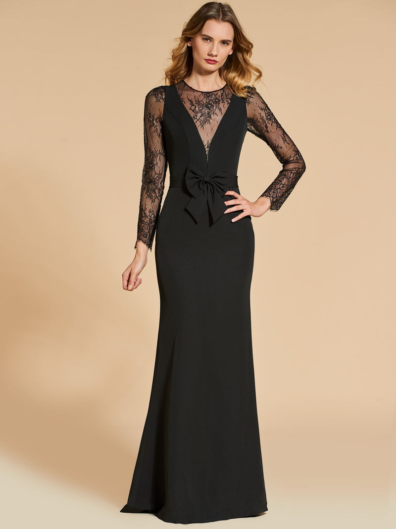 Sheath/Column Floor-Length Scoop Long Sleeves Evening Dress
