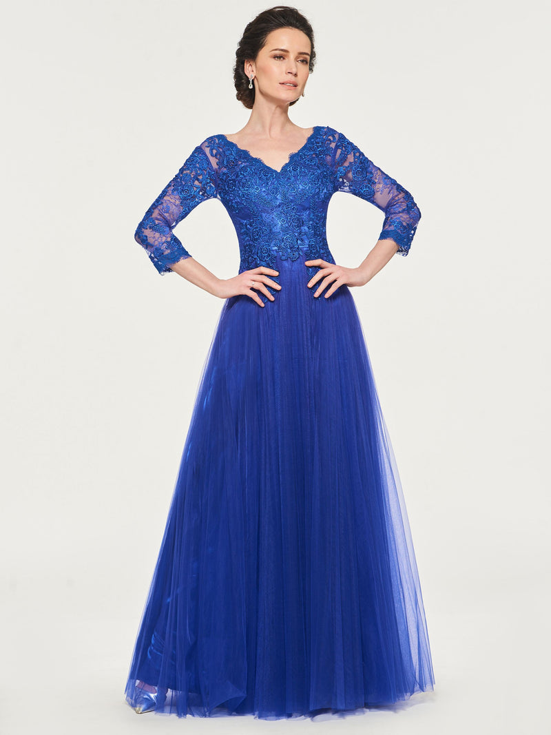 A-Line Floor-Length Appliques 3/4 Length Sleeves Mother Of The Bride Dress