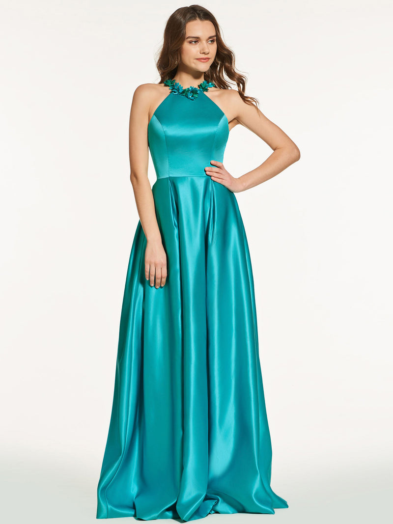 Sleeveless Appliques Scoop A-Line Prom Dress