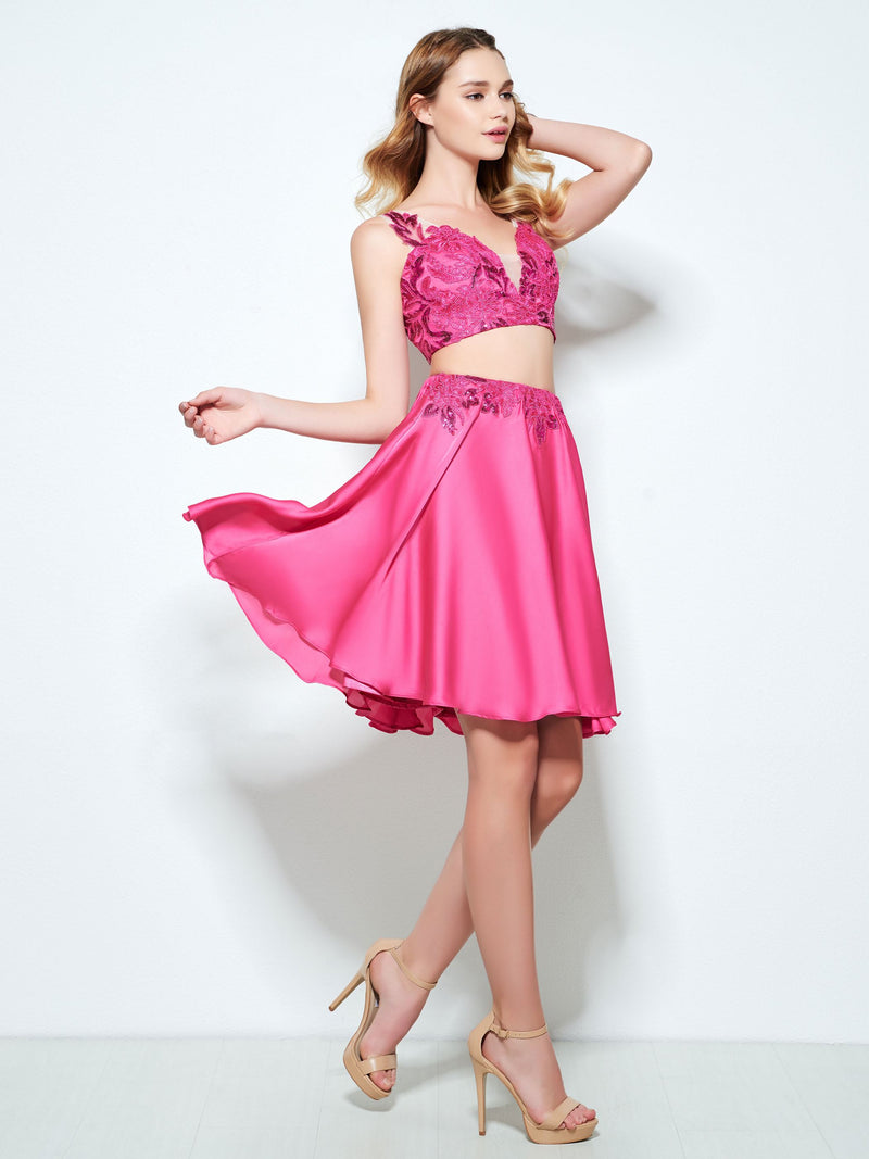 Short/Mini Appliques Sleeveless V-Neck Sweet 16 Dress