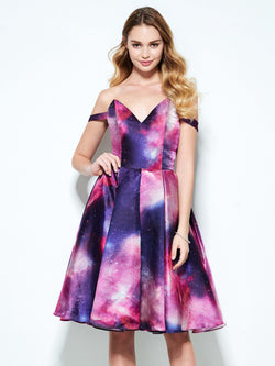 Sleeveless Off-The-Shoulder Print A-Line Prom Dress