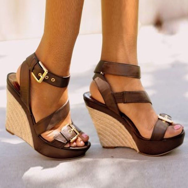 Comfortable Open Toe Ankle Strap Wedge Heel Sandals