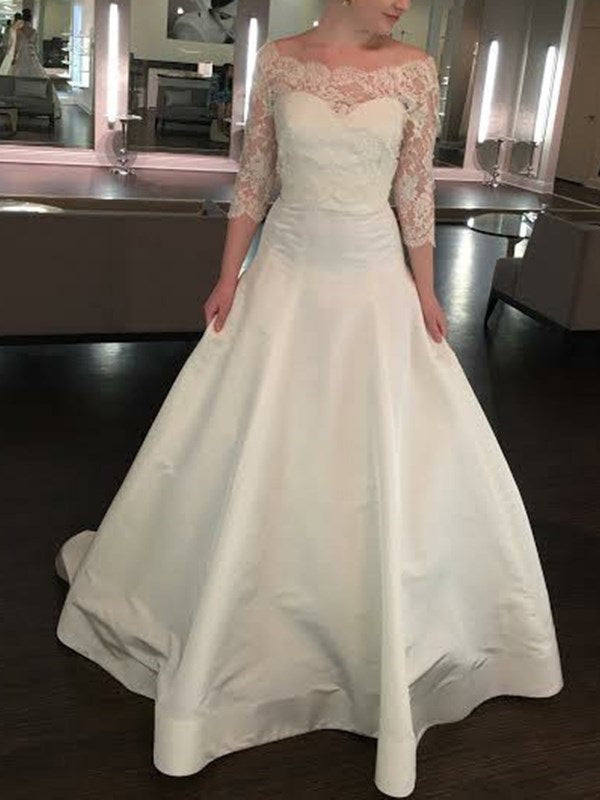A-Line Off-The-Shoulder 3/4 Length Sleeves Lace Church Wedding Dress
