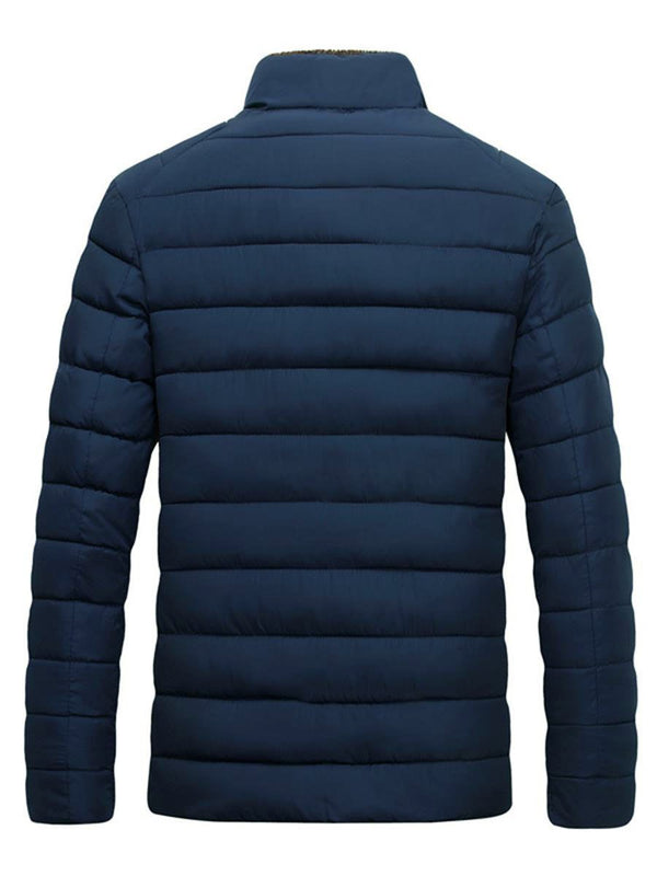 Standard Stand Collar Plain Zipper Down Jacket