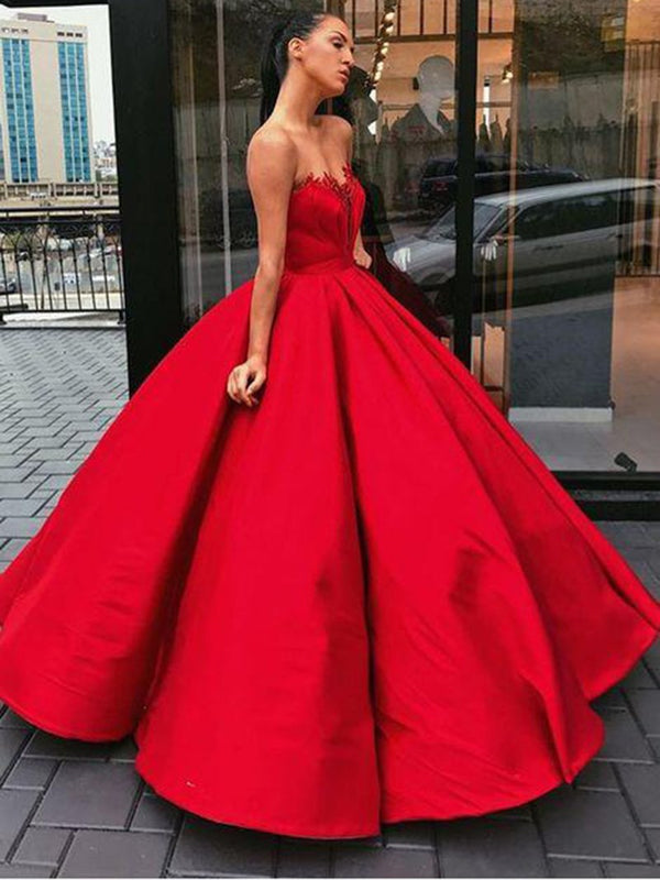 Sleeveless Sweetheart Floor-Length Ball Gown Red Prom Dress