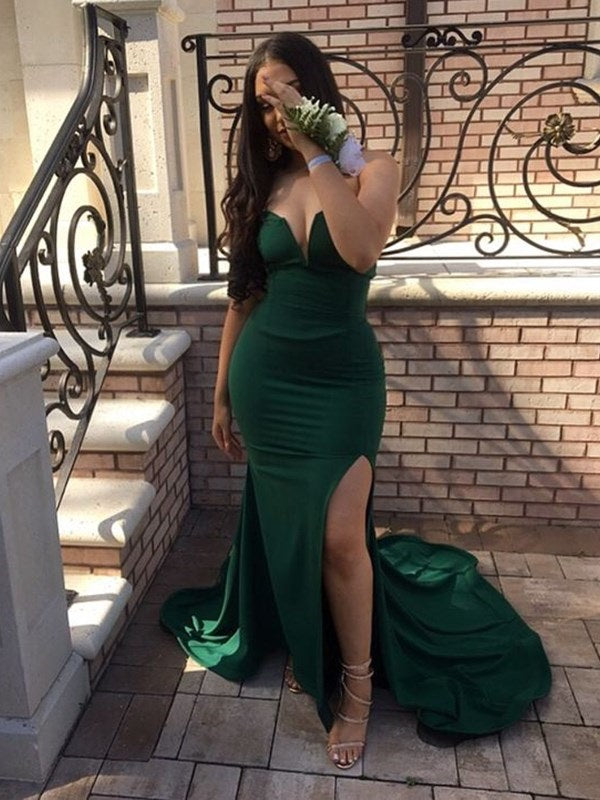 Sleeveless Sweetheart Split-Front Floor-Length Prom Dress