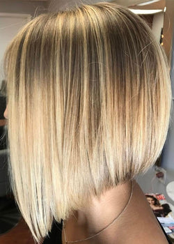 Blonde Color Women S Straight Medium Bob Hairstyles Synthetic Hair Capless Wigs 14inch