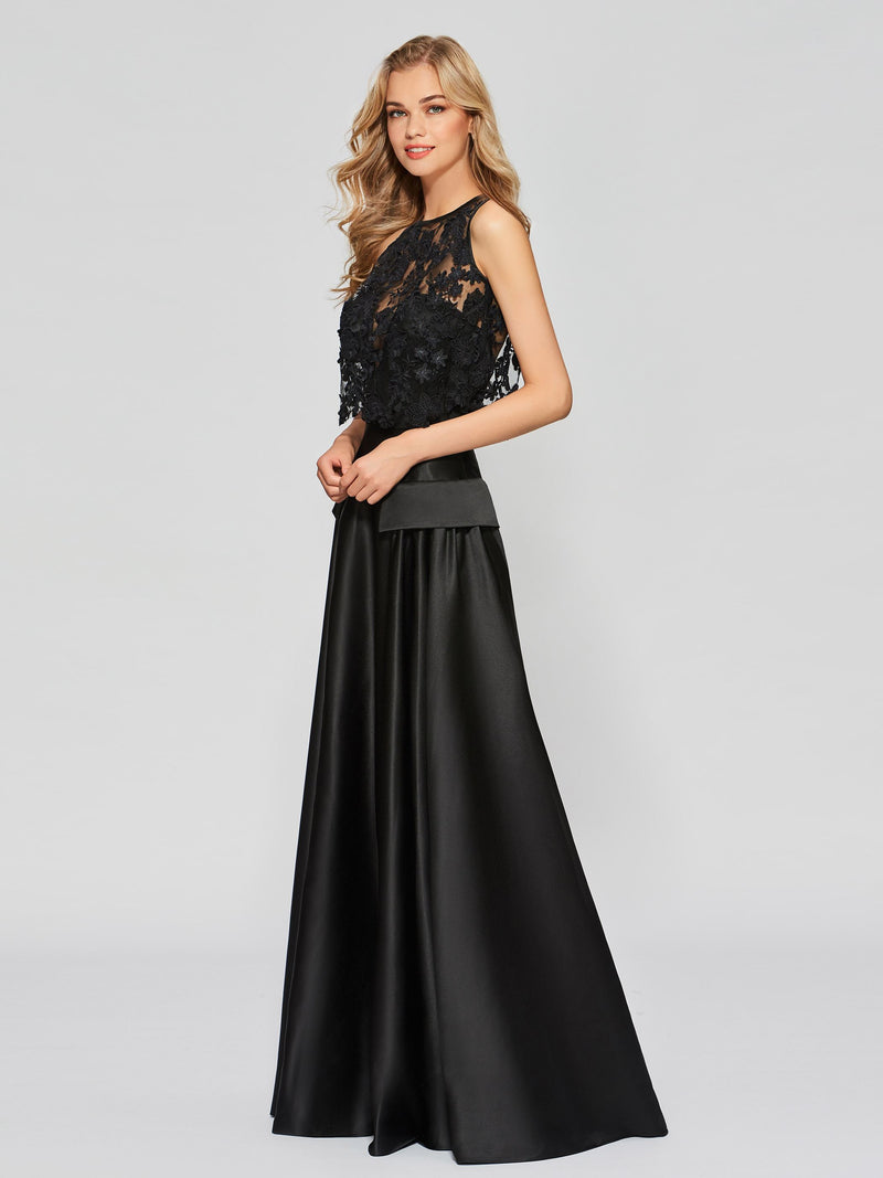 Floor-Length Lace Scoop A-Line Prom Dress
