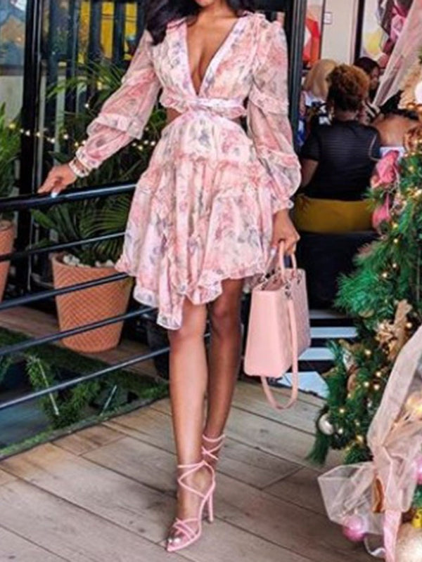 Print V-Neck Long Sleeve Summer Asymmetrical Dress