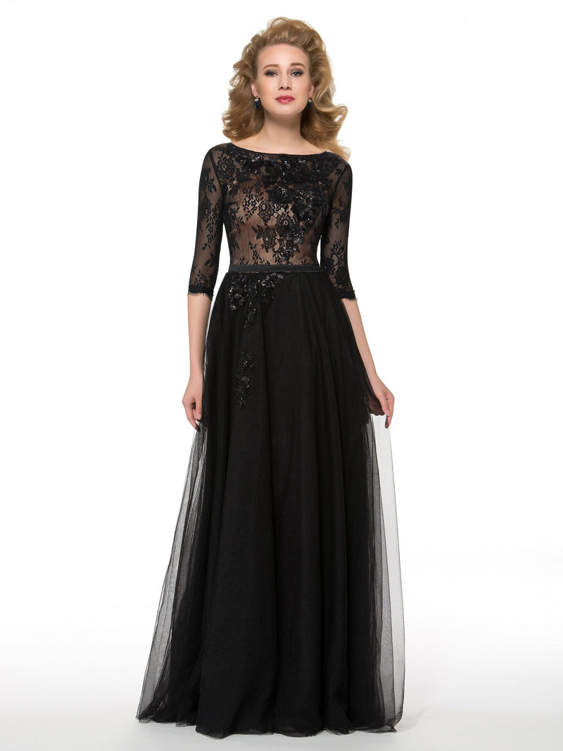 Lace Bateau A-Line Floor-Length Mother Of The Bride Dress
