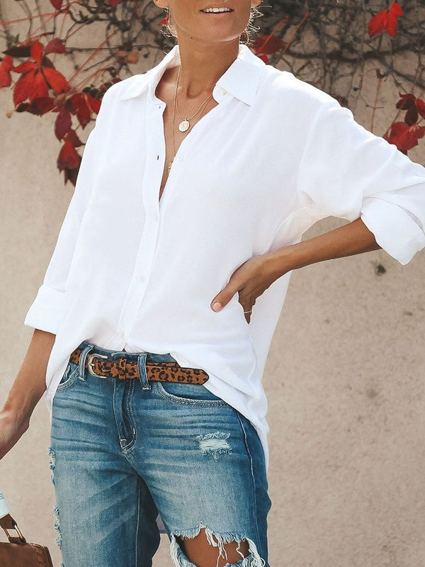 White V-Neck Loose Mid-Length Long Sleeve Blouse