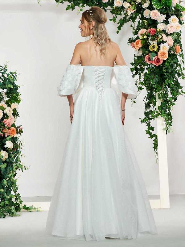 Floor-Length Off-The-Shoulder Ball Gown Beading Hall Wedding Dress