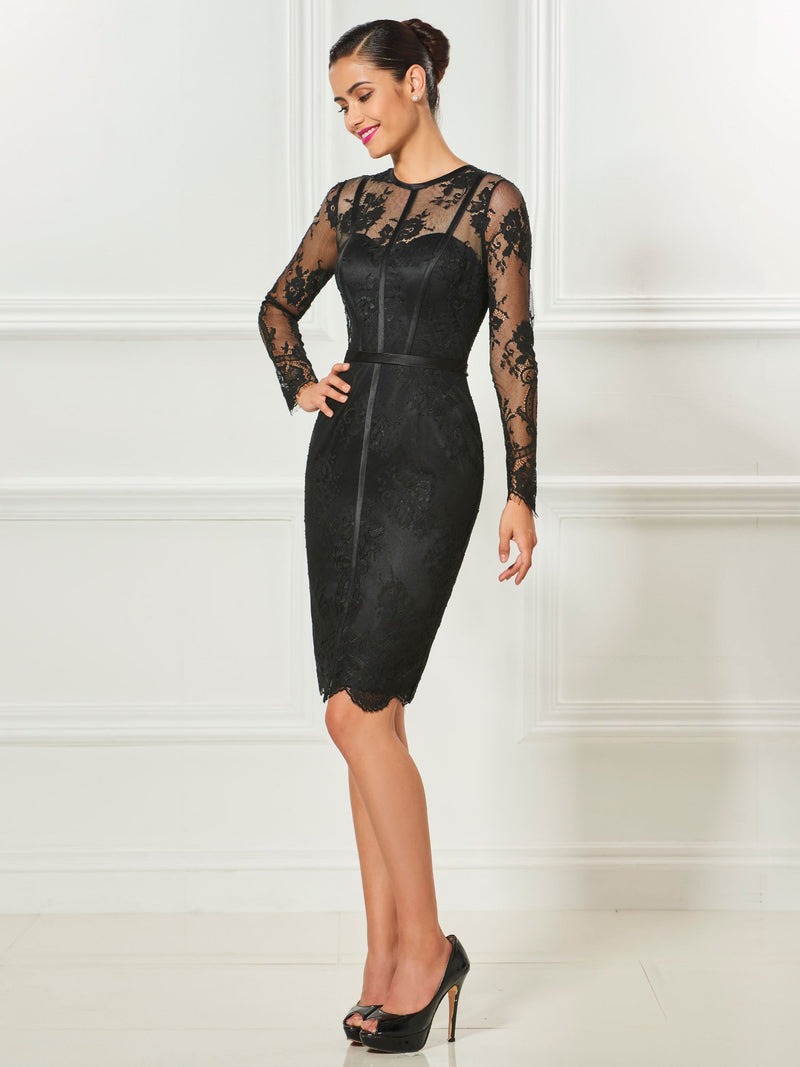 Scoop Lace Long Sleeves Sheath/Column Cocktail Dress