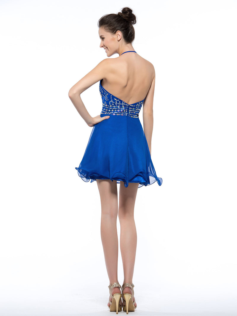 Halter Beading A-Line Sleeveless Homecoming Dress